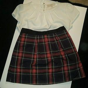 J. Crew High Waisted Plaid Skirt